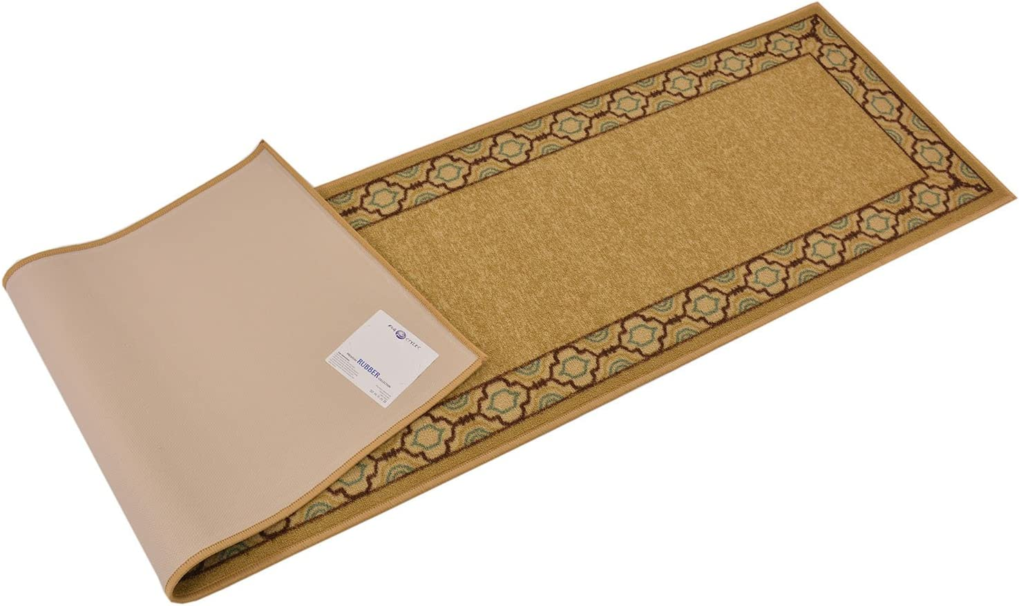 Beige, 111 x 7 RugStylesOnline Trellis Border Moroccan Design Printed Slip Resistant Rubber Back Latex Runner Rug and Area Rugs More Color Options Available