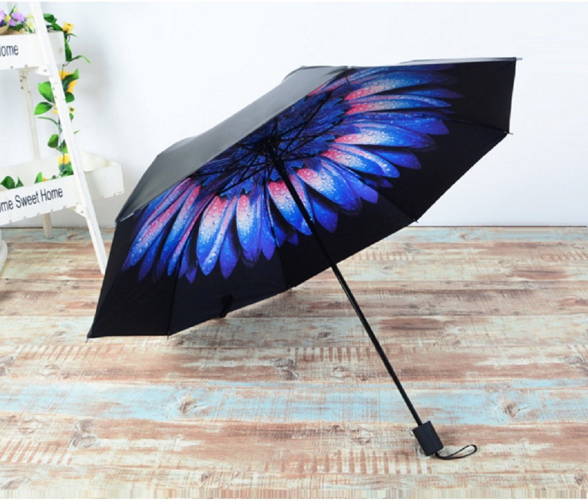 BESTFUN Travel Umbrella - Lightweight Rain Umbrella for Men and Women, Windproof Folding Compact Umbrellas with Multiple Colors (Flowers)