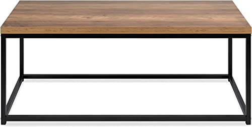 Best Choice Products 44in Modern Industrial Style Rectangular Wood Grain Top Coffee Table