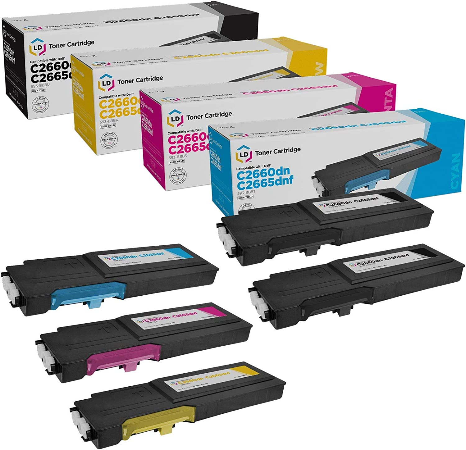 LD Compatible Toner Cartridge Replacement for Dell C2660dn & C2665dnf High Yield (2 Black, 1 Cyan, 1 Magenta, 1 Yellow, 5-Pack)