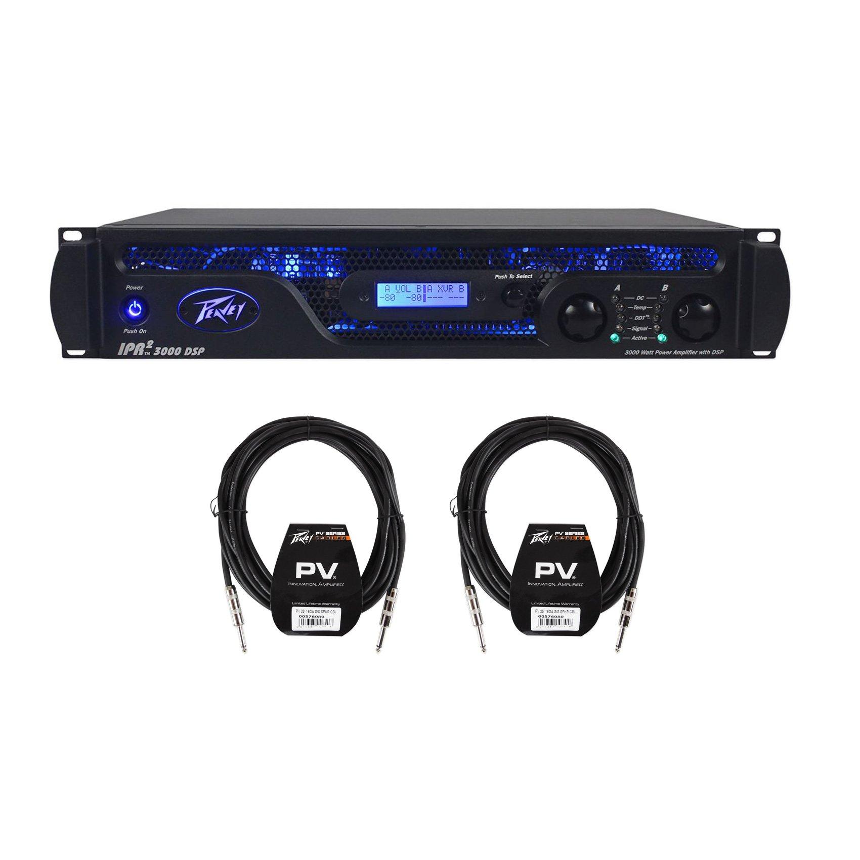 Package: Peavey IPR2 3000 DSP 3000 Watt Lightweight Class D Power Amplifier + (2) Peavey PV 25' 16 Gauge Speakon to Speakon Speaker Cables by Peavey