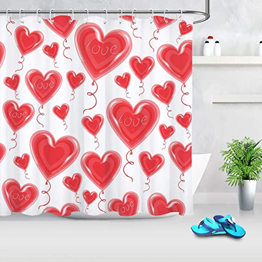 Valentine/'s Day Bathroom Polyester Fabric Shower Curtain Set Hanging Love Hearts