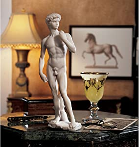 """Top Collection 12"""" Small David Statue by Michelangelo in White Marble Finish"""