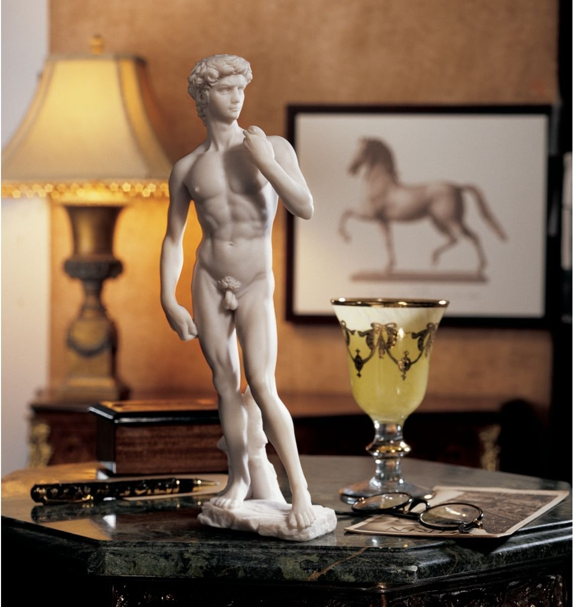 Top Collection 12 Small David Statue by Michelangelo in White Marble Finish