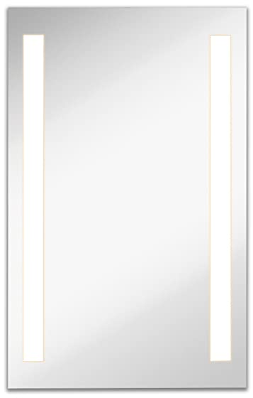 Lighted LED Frameless Backlit Wall Mirror | Polished Edge Silver Backed Illuminated 2 Frosted Line Vertical Mirrored Plate | Commercial Grade | Vanity or Bathroom Hanging Rectangle (23.5