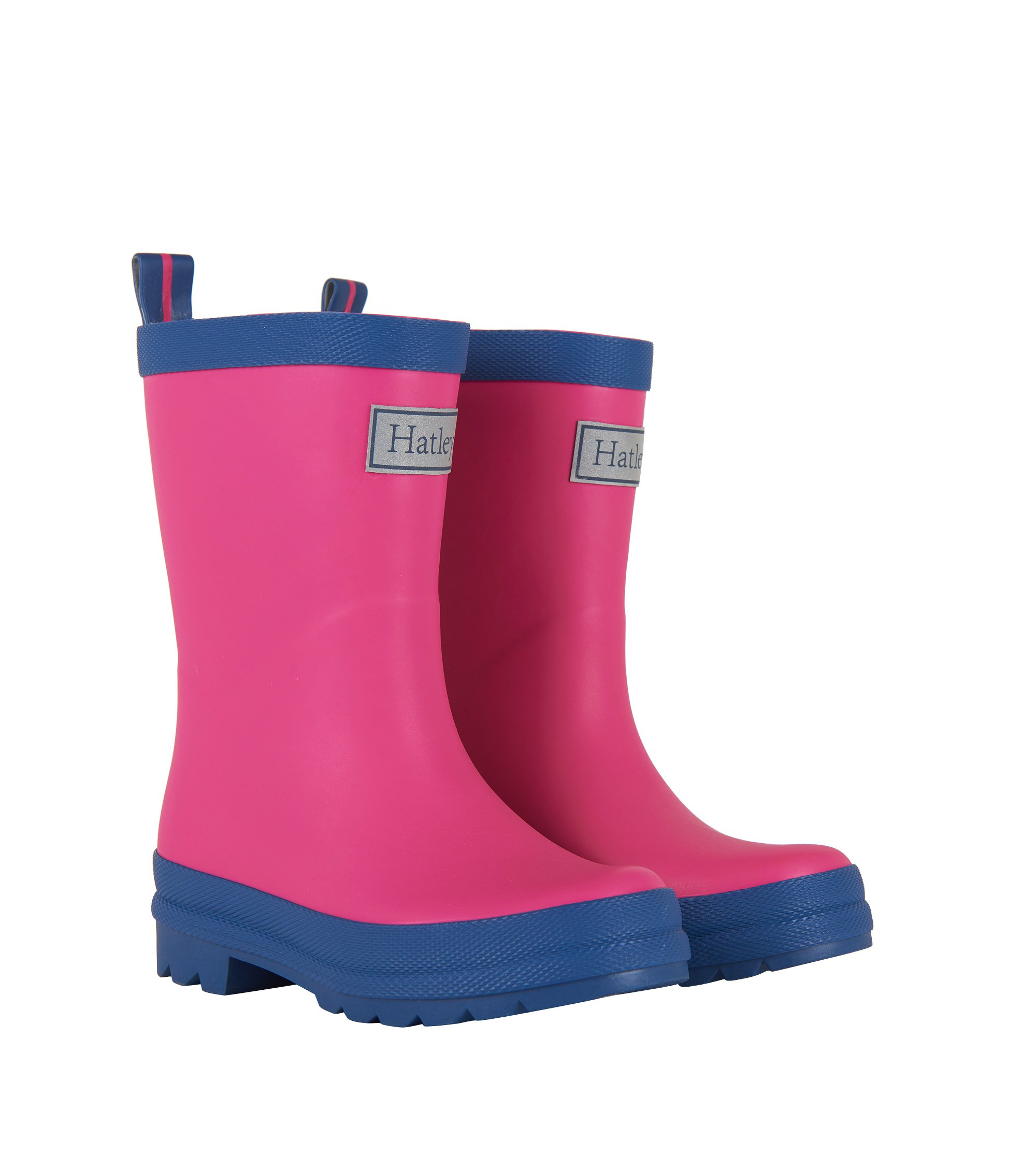 Hatley Classic Boots Girls Rain Accessory, Fuchsia and Navy, 10 M US Little Kid