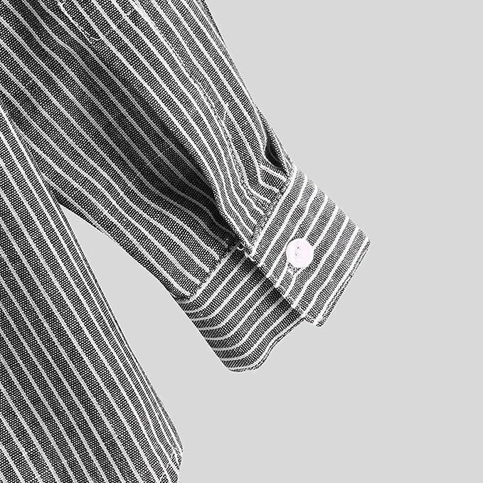 HCFKJ Camisa de Lino y algodón para Hombre, Informal, Manga Corta y Larga, Manga Larga, para Verano, para Hombre, a Rayas, de algodón, de Lino y Manga Larga, con Botones, Ajustada Negro