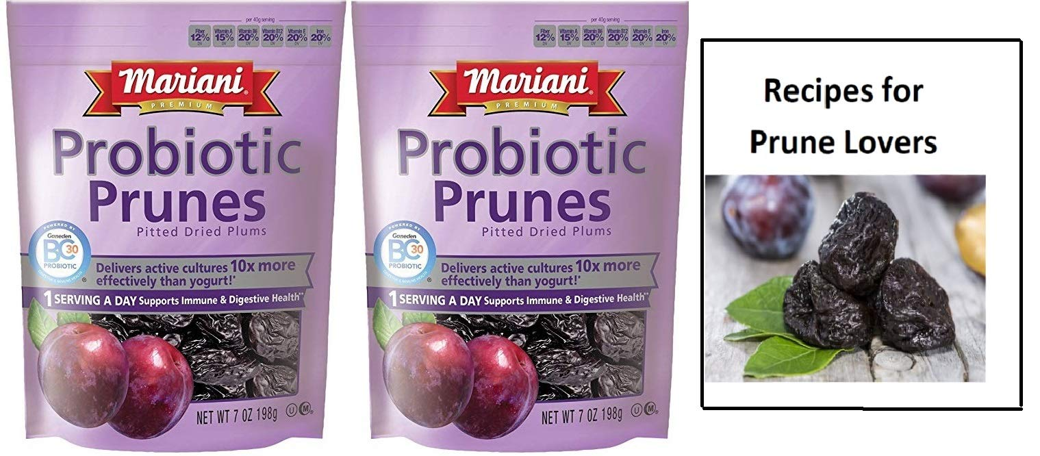 Mariani Probiotic Prunes - Two 6 oz Packages of Dried Prunes Plus Our Prunes Recipe Book - Great Value by Mariani