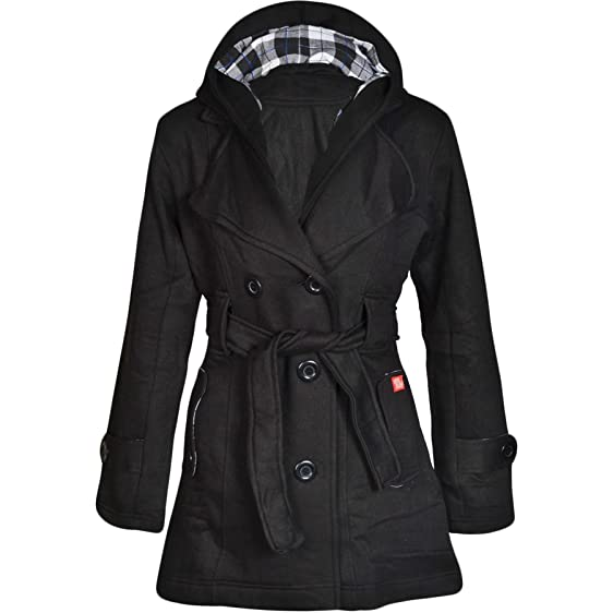 Amazon.com: Womens Check Hood Coat Ladies Belted Button Hooded ...