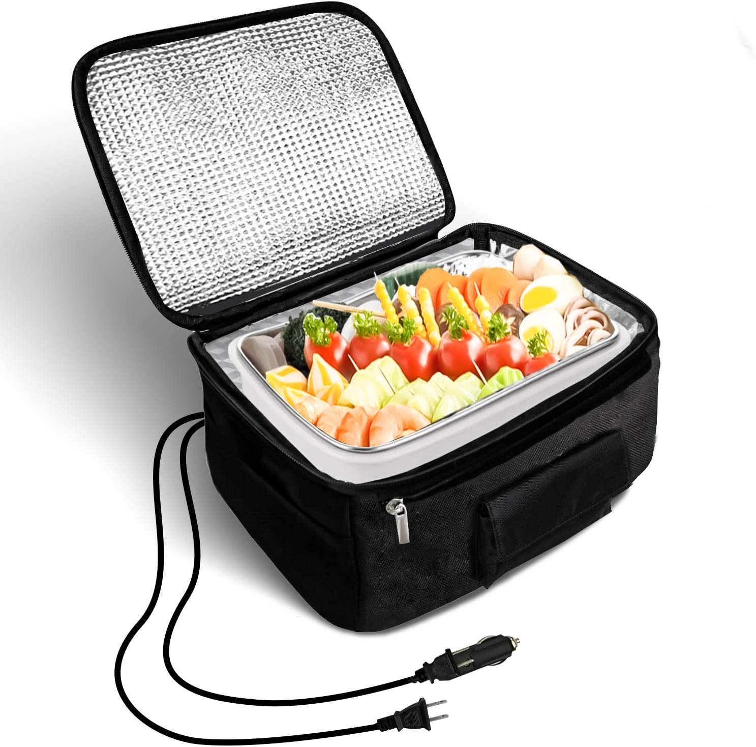 HTDZ Portable Oven Heated Personal Food Warmer Lunch box(12V and 110V Dual Use) for Car, Or Prepared Meals Reheating at Work Without Using Office Microwave