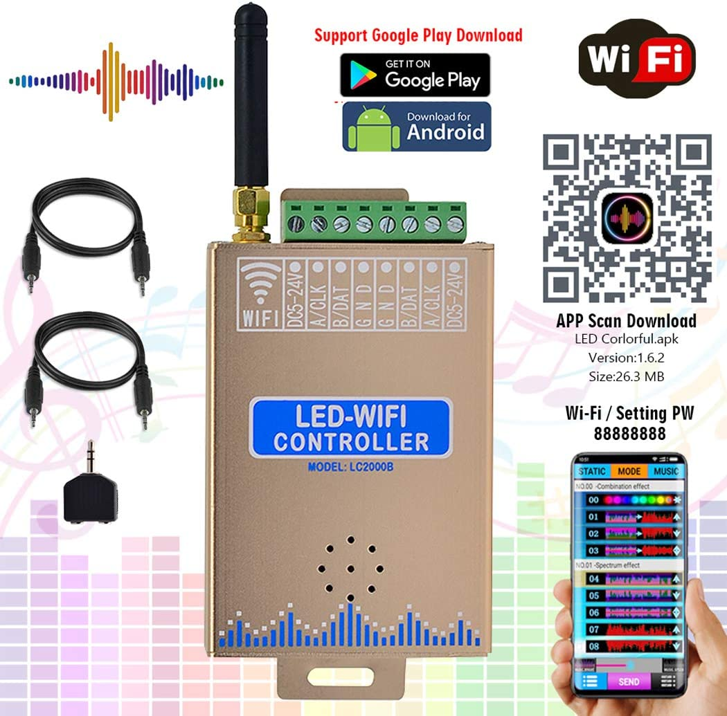 Newest LED WiFi SPI Music Spectrum Android Controller APP Support Input Content SK6812 RGB//RGBW WS2815 Addressable LED Strip Lights DC7.5-24V WS2812B WS2813 Google Play Download for DMX512