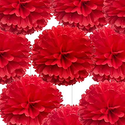 14 Red Tissue Pom Poms Diy Decorative Paper Flowers Ball For Birthday Party Wedding Baby Shower Home Outdoor Hanging Decorations Pack Of 10