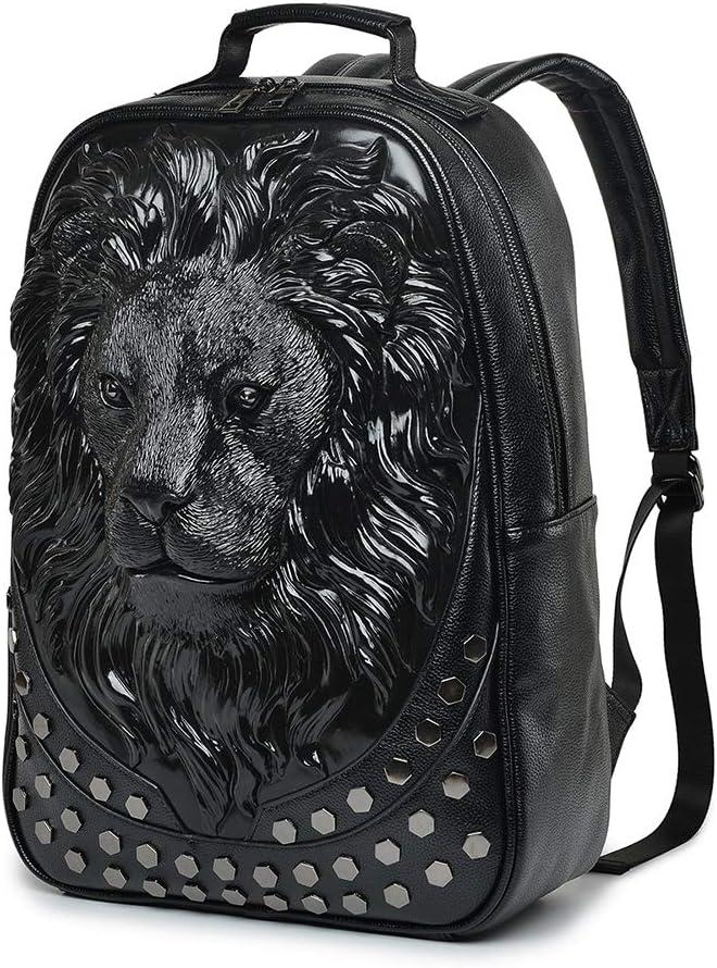 3D Lion Head Shoulder Backpack Personality Rivet Fashion Travel Backpack