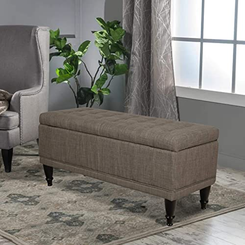 ELEGAN Fabric Rectangular Storage Ottoman Bench Tufted Lift Top Footstool