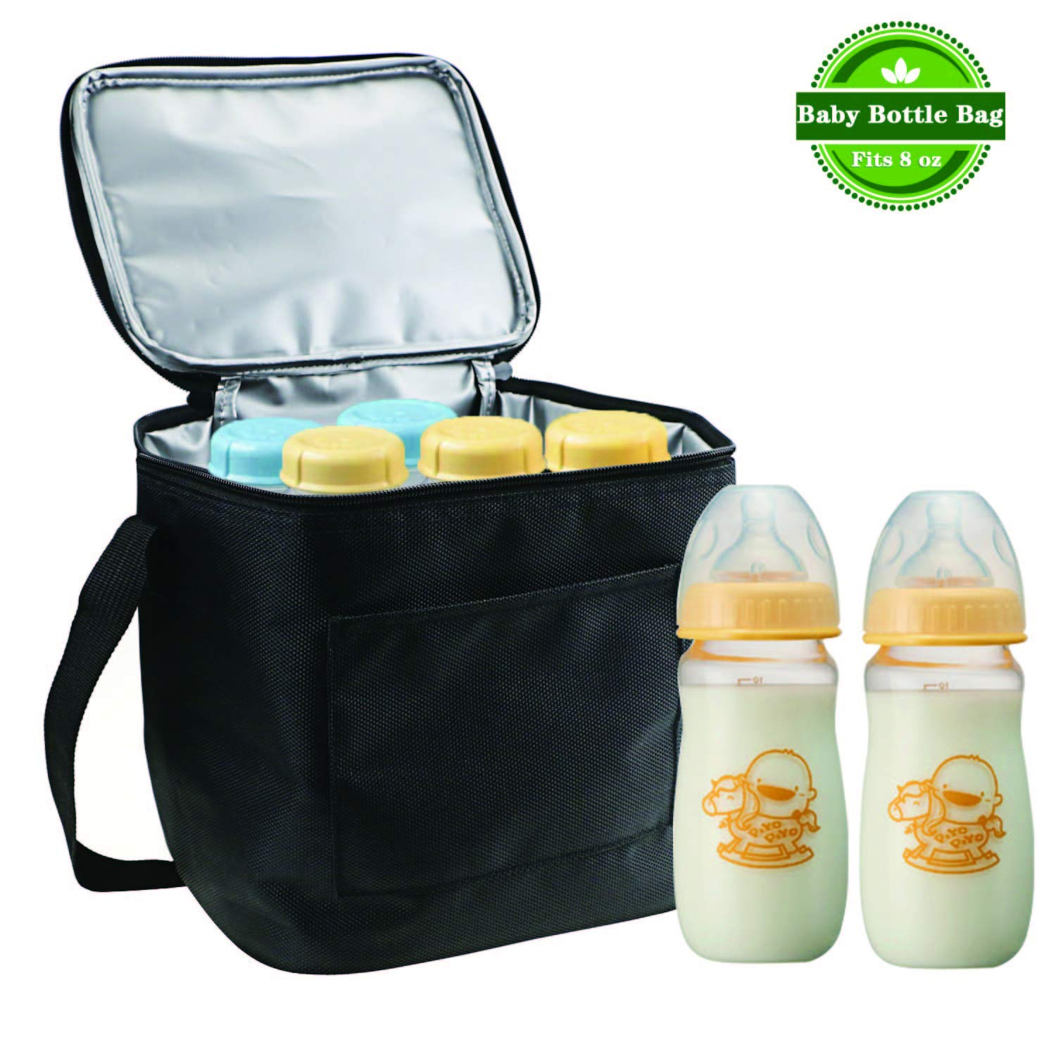 Update Material - Gifort Baby Bottle Cooler Bag, Breastmilk Insulated Cooler Tote Storage for Travel Or Work, for Cooler Tote Storage, Black (Fits up to Most 8 Oz. Bottles)