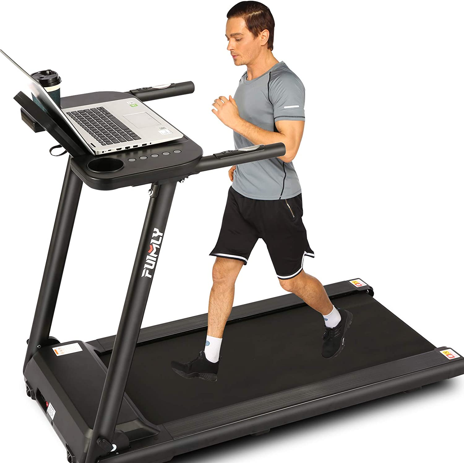 Portable Electric Treadmill Machine for Running Walking Jogging Workout 265 LBS Weight Capacity Folding Treadmills for Home with Desk and Bluetooth Speaker FUNMILY Treadmill
