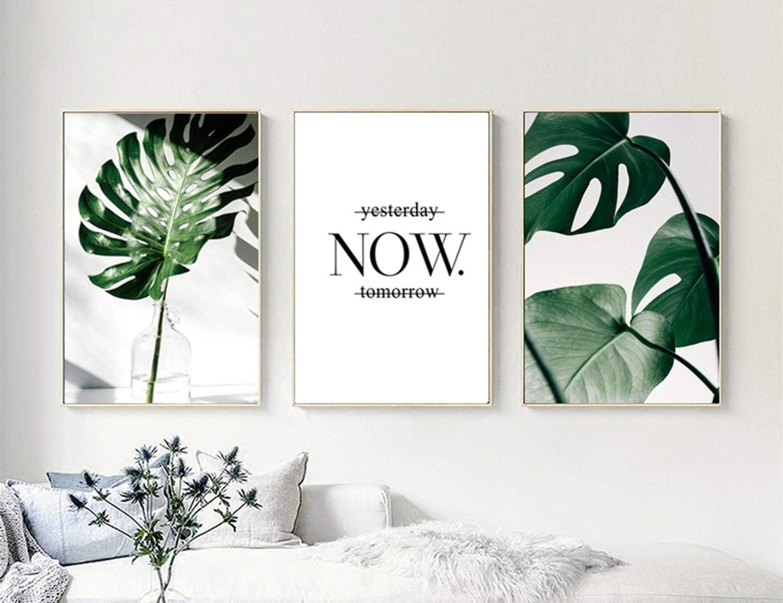 Set de 3 Posters Hojas Verdes y Citas y Cuadros Hojas Tropicales Decoración Lienzo Decorativo pared Dormitorio Cuadro Impresión Fotografica PTGL002-L
