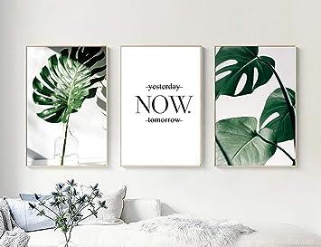 Nordic Ideas Set De 3 Tableau Moderne Chambre Décoration Murale Toile Plante  Verte Affiche Feuille Tropical