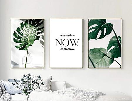 Nordic Ideas Set de 3 Affiches Plantes Verte et Citation Noir et Blanc  Tableau Décoration Murale Toile Feuille Tropical Poster Impression Déco  Salon ...