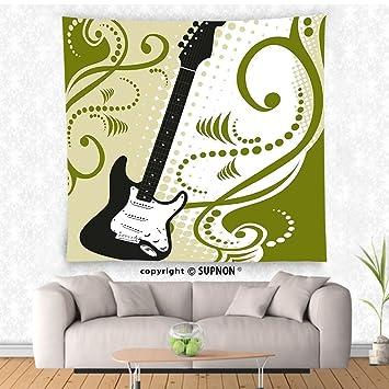 VROSELV Custom Tapiz Tapiz, diseño bajo eléctrico música Guitarra Figura con remolinos Fondo con ilustración Colgar en la Pared para Dormitorio salón ...