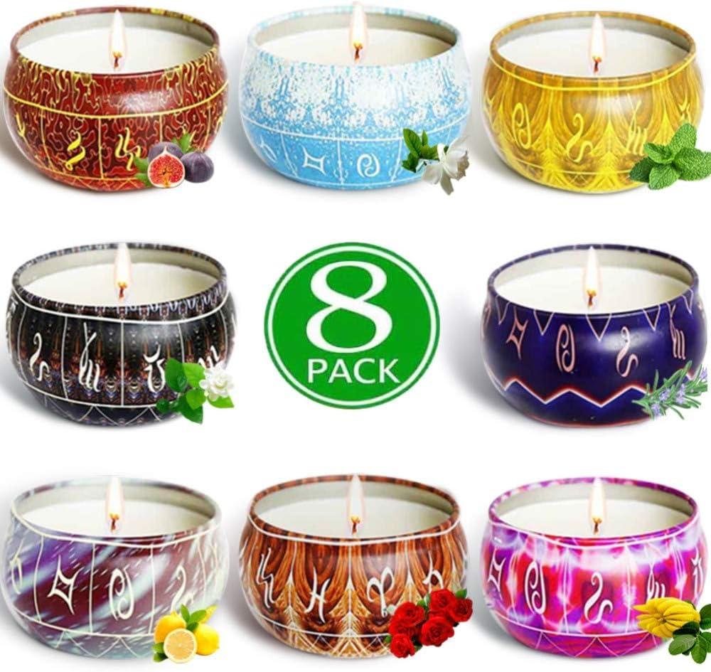 AMAYGA 8 Pack Regalo de Velas Perfumadas,Velas Aromaticas,Cera de Soja Natural,Aromaterapia Decoración para Relajación Fiesta Boda Baño Yoga Cumpleaños Navidad Día de San Valentín Regalos: Amazon.es: Hogar