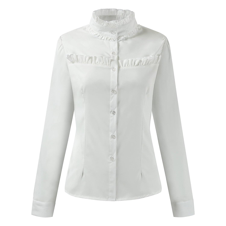 67139dd61b3ce Makroyl Women Stand-Up Collar Lotus Ruffle Long Sleeve Shirts Blouse (Off- White