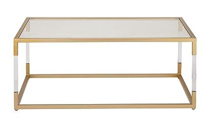 Deco 79 56933 Rectangular Clear Acrylic, Gold Metal U0026 Glass Coffee Table,  46u201d