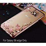 KC Shockproof Silicone Soft Transparent Auora Flower Case with Sparkle Crystals for Galaxy S6 edge Back Cover (Rose Gold + Pink)