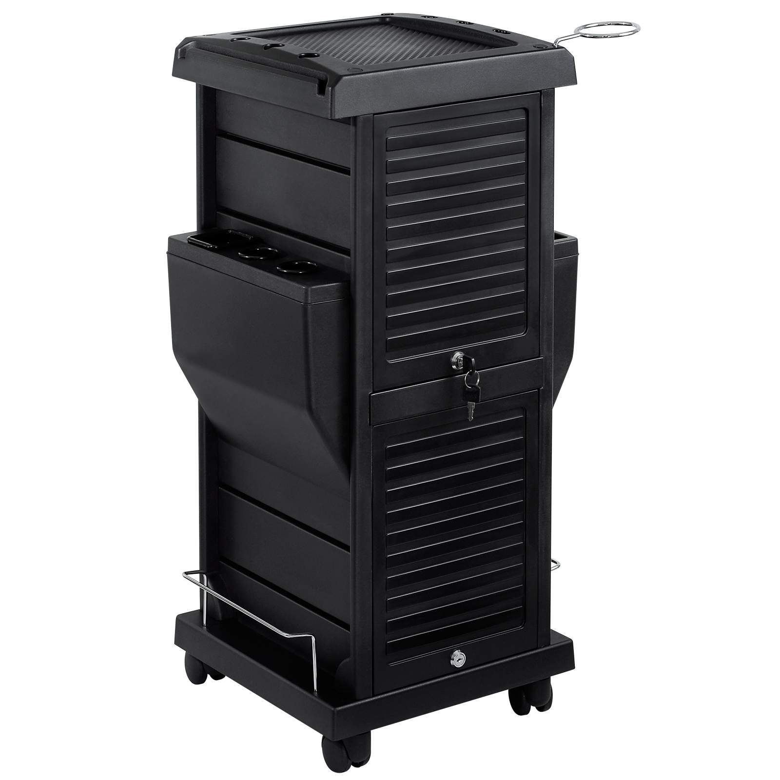 Saloniture Premium Locking Rolling Trolley Cart with Pocket Inserts - Black by Saloniture