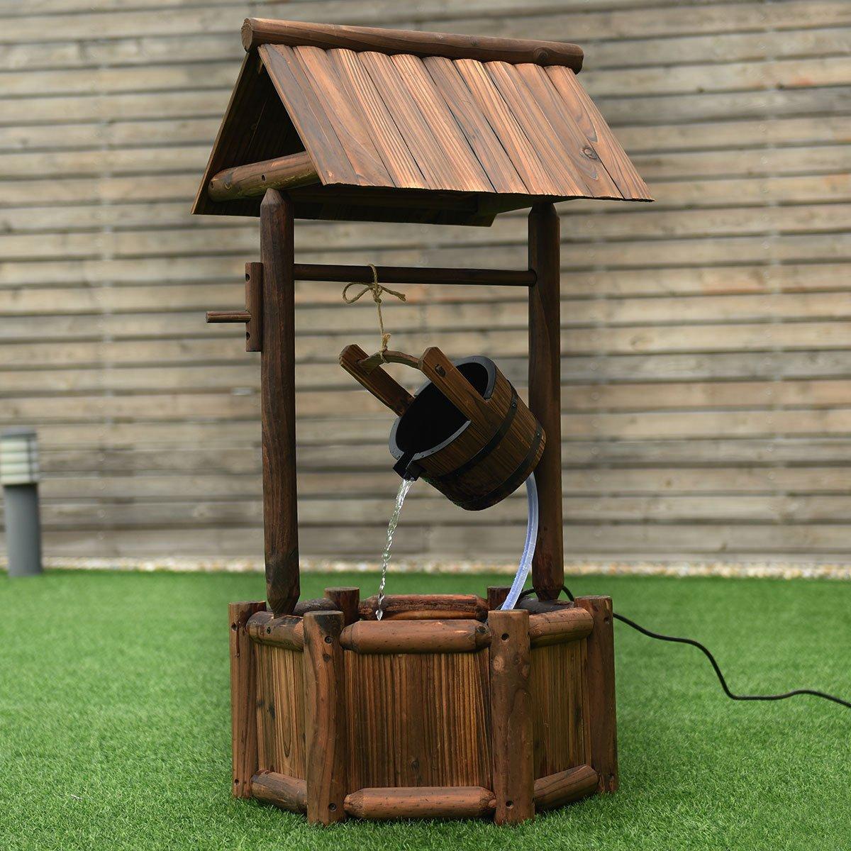 Giantex Wishing Well Water Fountain Rustic Wooden Outdoor Garden Decorative Fountain Backyard w/Electric Pump