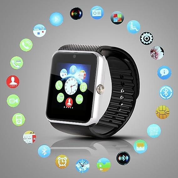 Hiwatch Reloj Inteligente Smartwatch Bluetooth Android Móvil Reloj con 8GB Micro SD Tarjeta, Blanco(No Incluido SIM Tarjeta) Negro: Amazon.es: Relojes