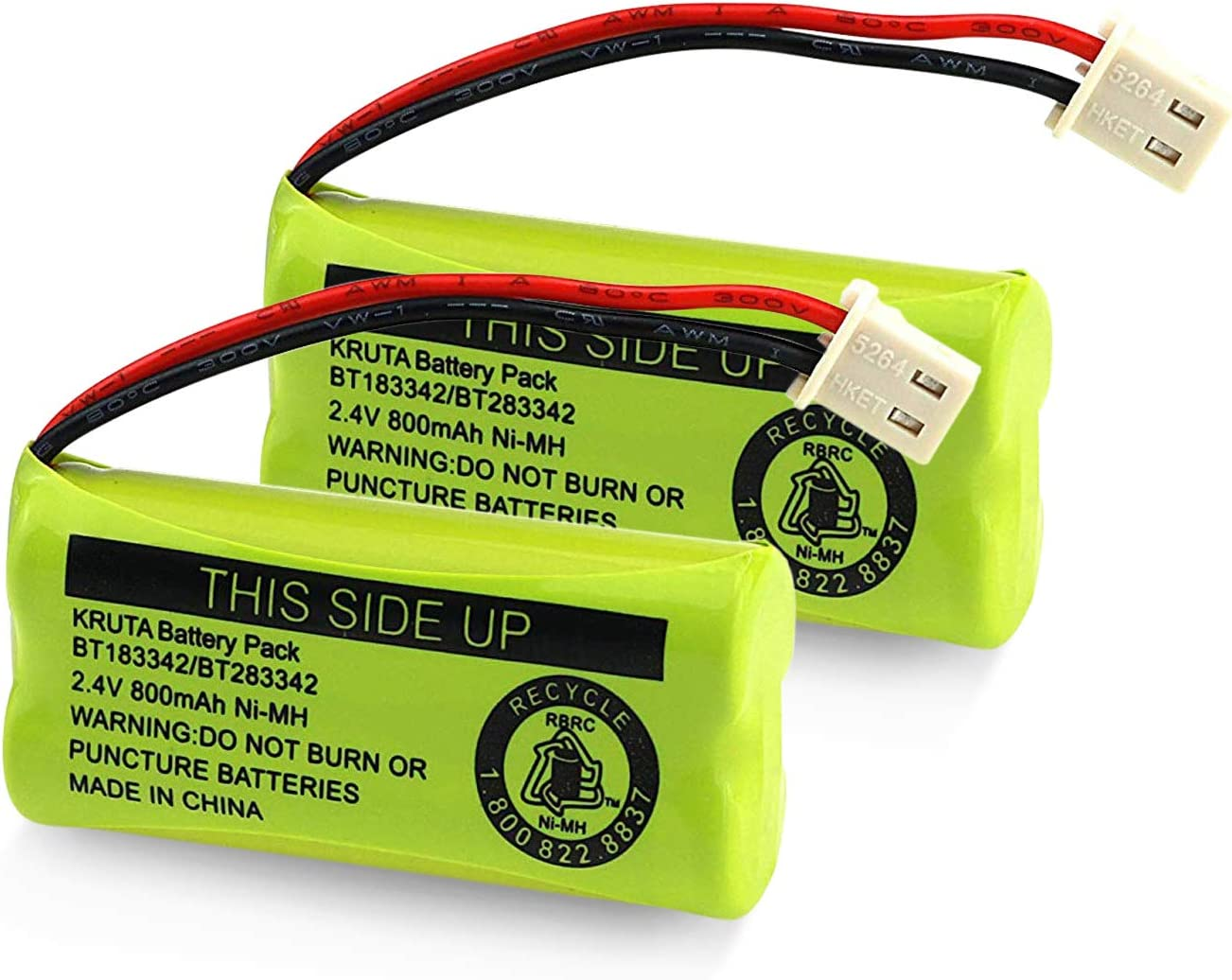 BT183342/BT283342 2.4V 800mAh Ni-MH Battery Pack, Also Compatible with AT&T VTech Cordless Phone Batteries BT166342/BT266342 BT162342/BT262342 2SN-AAA40H-S-X2