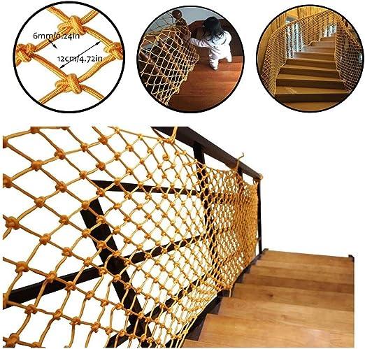 GR5AS Protección Neto Escalera Balcon Red de Seguridad Kinder Decoración Cerca Red Infantil Balcón Escalera Animal doméstico del Cabrito del Gato Red de Tejido a Mano la Cuerda Neto Amarillo Cubierta: Amazon.es: