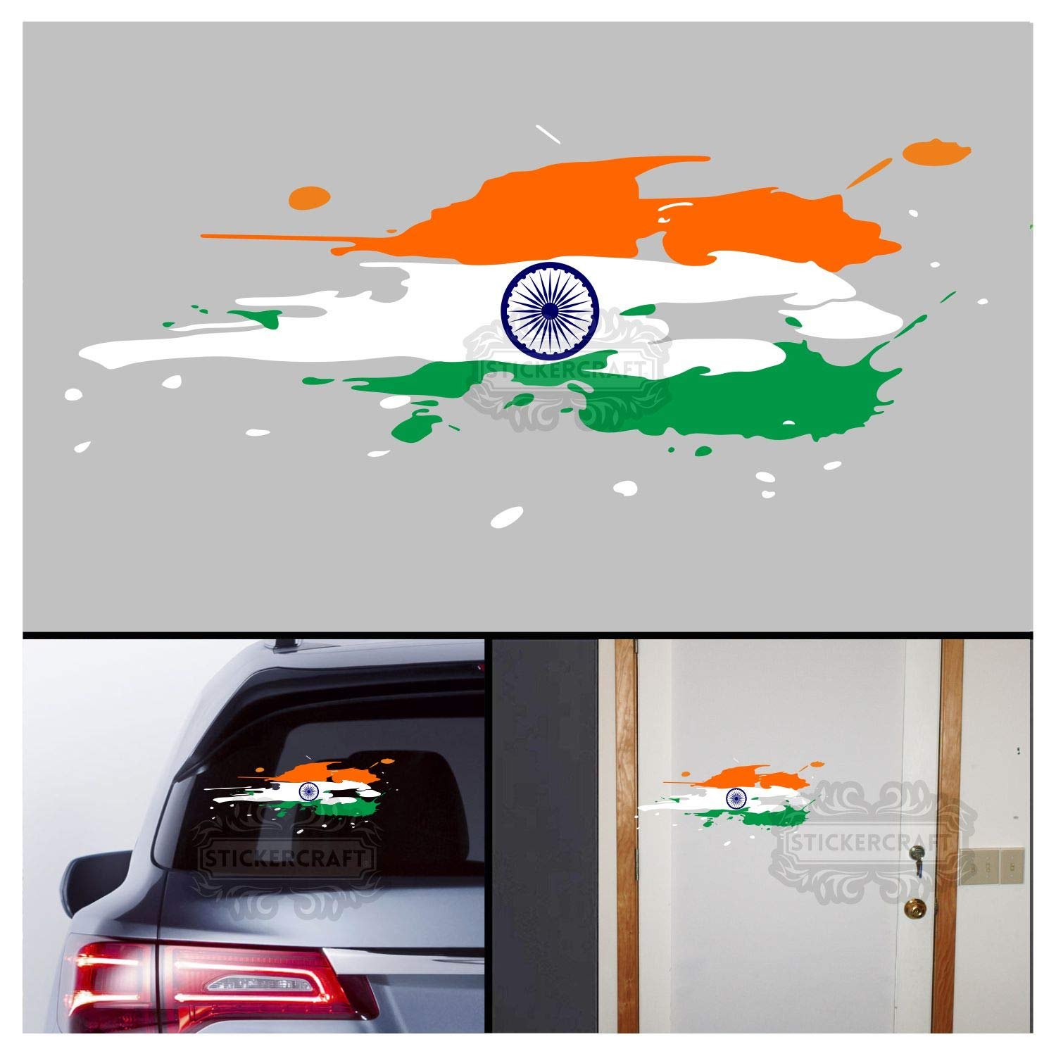 Stickercraft indian flag car stickers water splash design for body glass wall vinyl 12lx5w inches amazon in car motorbike