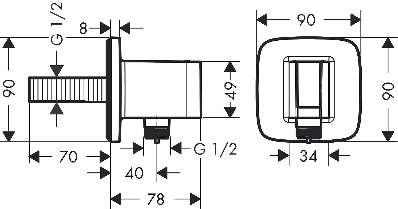 hansgrohe Fixfit E Schlauchanschluss mit R/ückflussverhinderer chrom