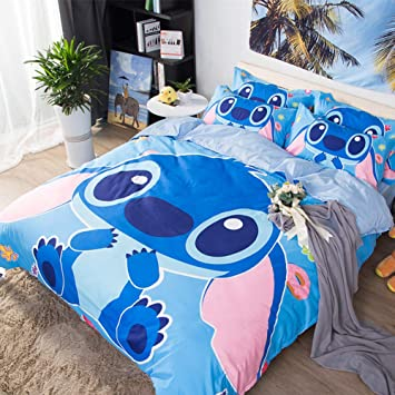 Zhouing Cartoon Stitch 3d Print Ensemble De Literie 4pcs Durable