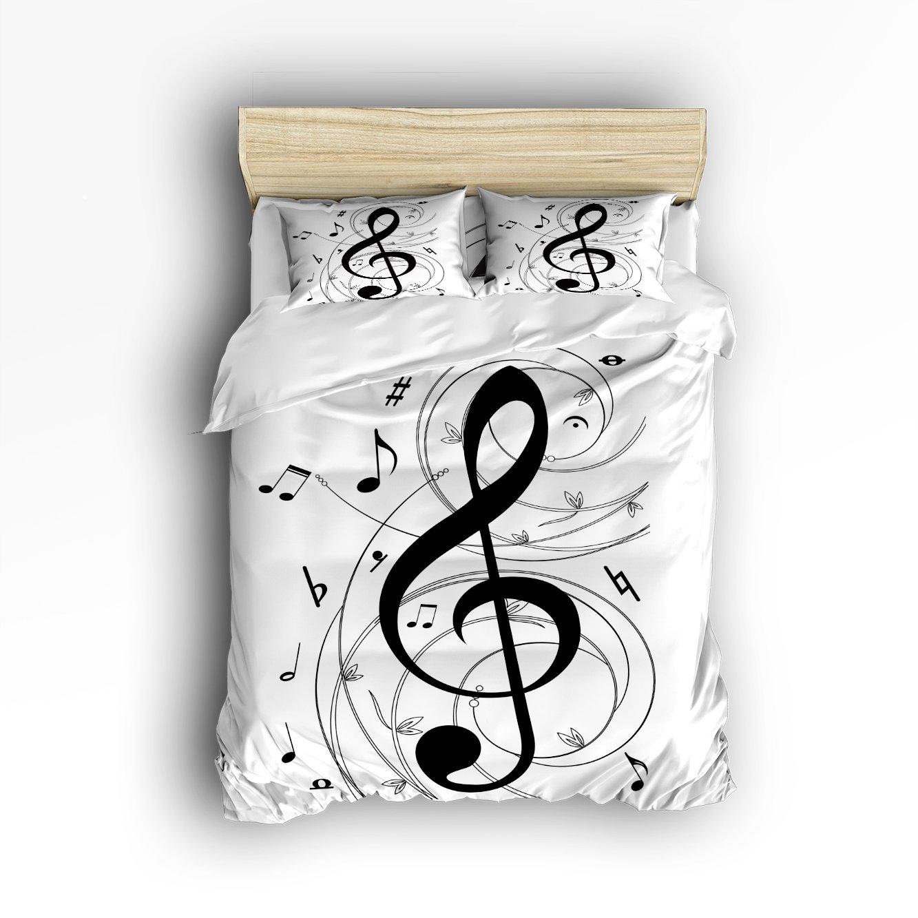 Full Size Bedding Set- Black White Music Notes Duvet Cover Set Bedspread for Childrens/Kids/Teens/Adults, 4 Piece 100% Cotton Vandarllin