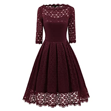 Womens Cocktail Dress Formal Lace O Neck Ball Gown Prom Dresses Ladies Long Casual Evening Dresses