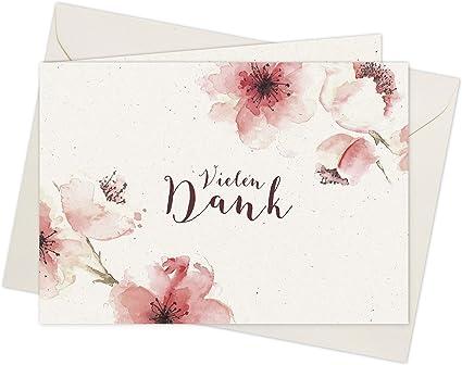 20 Karten 20 Umschläge Klappkarten Dankeskarten Kirschblüten Din A6 Im Set Danke Sagen Mit Danksagungskarten Nach Hochzeit Geburt Baby