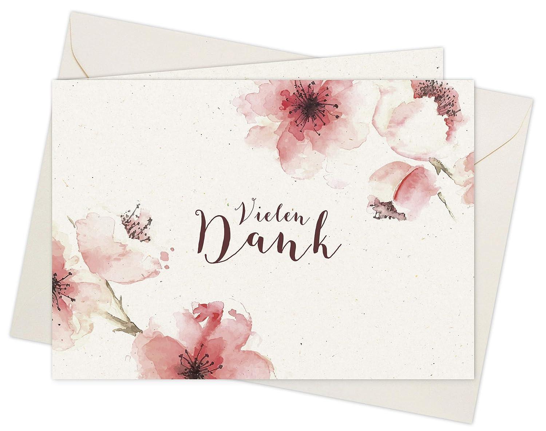 20 karten 20 umschläge klappkarten dankeskarten kirschblüten din a6 im set danke sagen mit danksagungskarten nach hochzeit geburt baby taufe