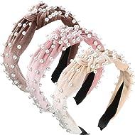 3 Pieces Pearls Headband Wide Hair Hoop Velvet Pearls Headband Vintage Twisted Headwear for Girl Woman Hair Accessories (Beige, Pink, Pale Mauve)