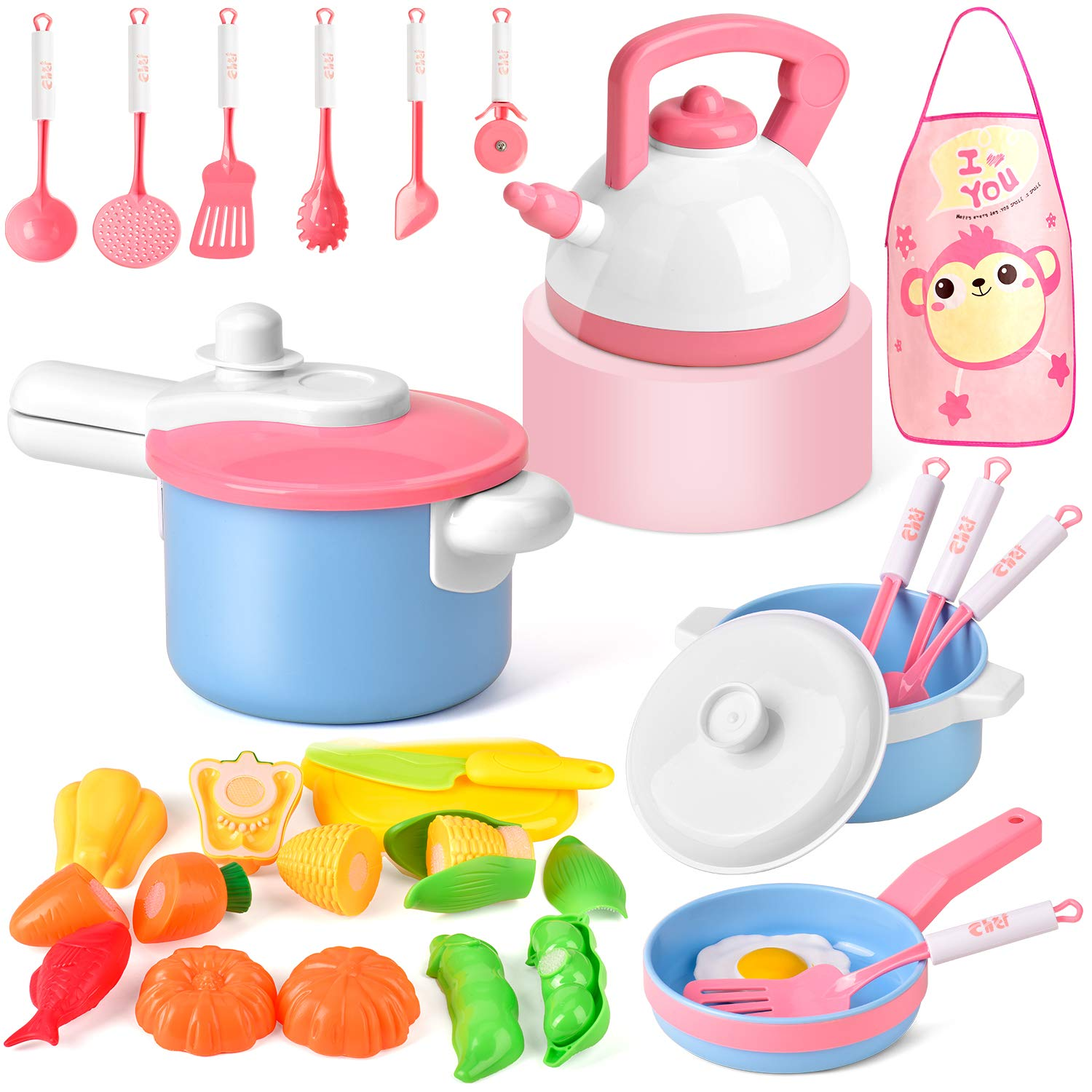 Balnore Kids Kitchen Pretend Play Toys, 28 Pcs Macaron Toy Kitchen Sets with Cooking Set Cookware Playset Pots and Pans Healthy Cutting Vegetables,Knife,Utensils, Little Chef for Kids Toddlers