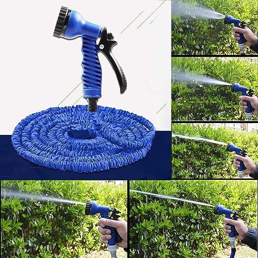 Jardín aspersor de riego Manguera de riego telescópica Extensible Tubo Flexible de 2, 5 m Magic Garden -7.5m con Pistola de pulverización con Juego de jardín (Azul): Amazon.es: Jardín