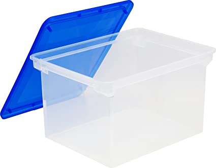 Storex Plastic File Tote Storage Box with Snap-On Lid, Letter/Legal Size,  Clear (61508U01C)