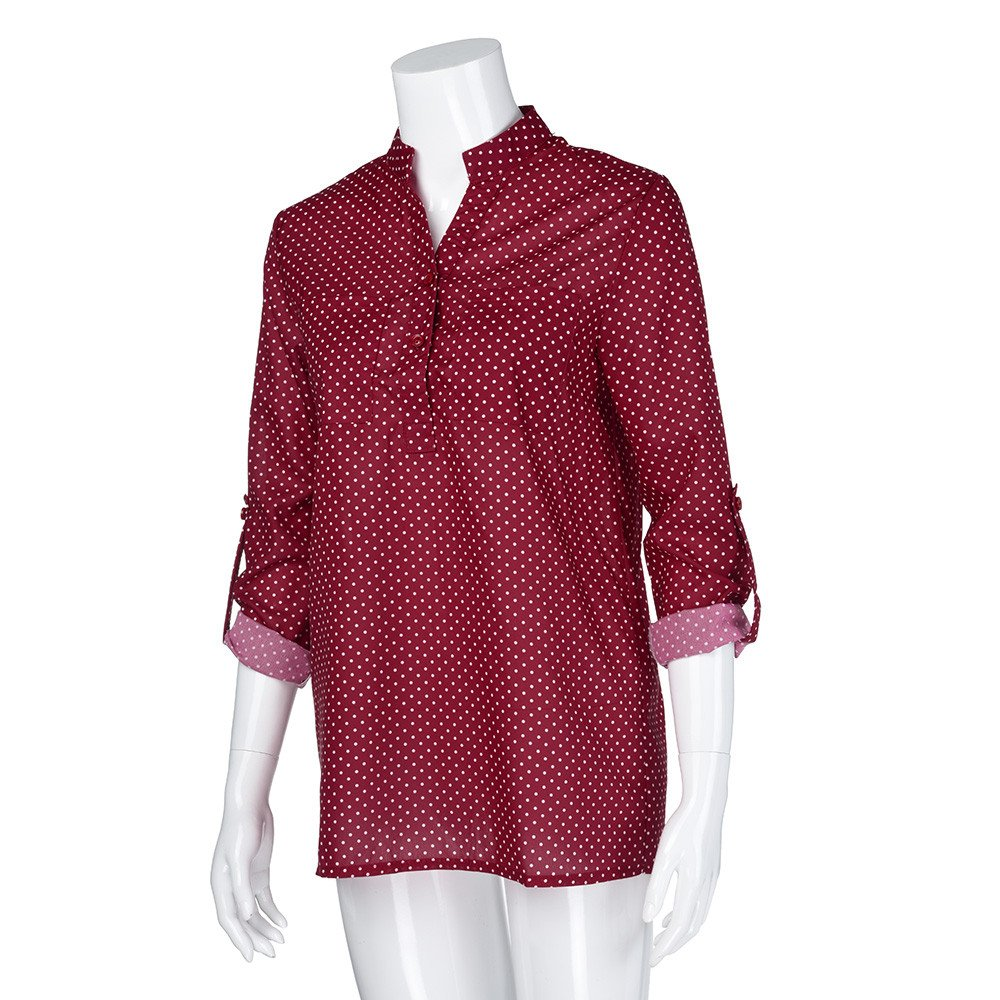 Blouse For Women-Clearance Sale, Farjing V-Neck Wave Point Printing Long Sleeves Plus Size Tops Loose Blouse(US16/4XL,Wine) by Farjing (Image #2)