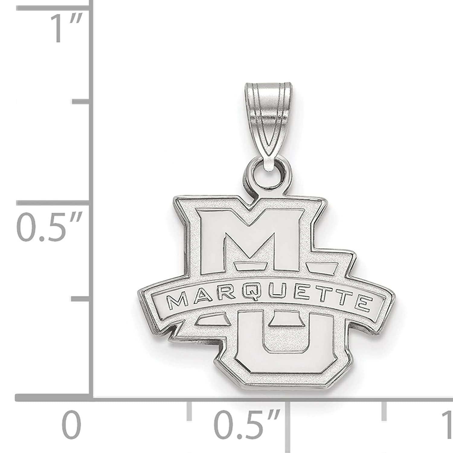 925 Sterling Silver Rhodium-plated Laser-cut Marquette University Small Pendant