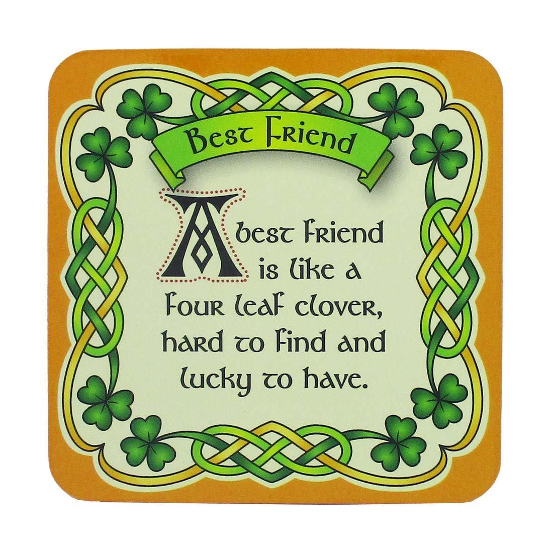 Royal Tara Irish Celtic Coaster with Best Friend Design and Shamrock Design