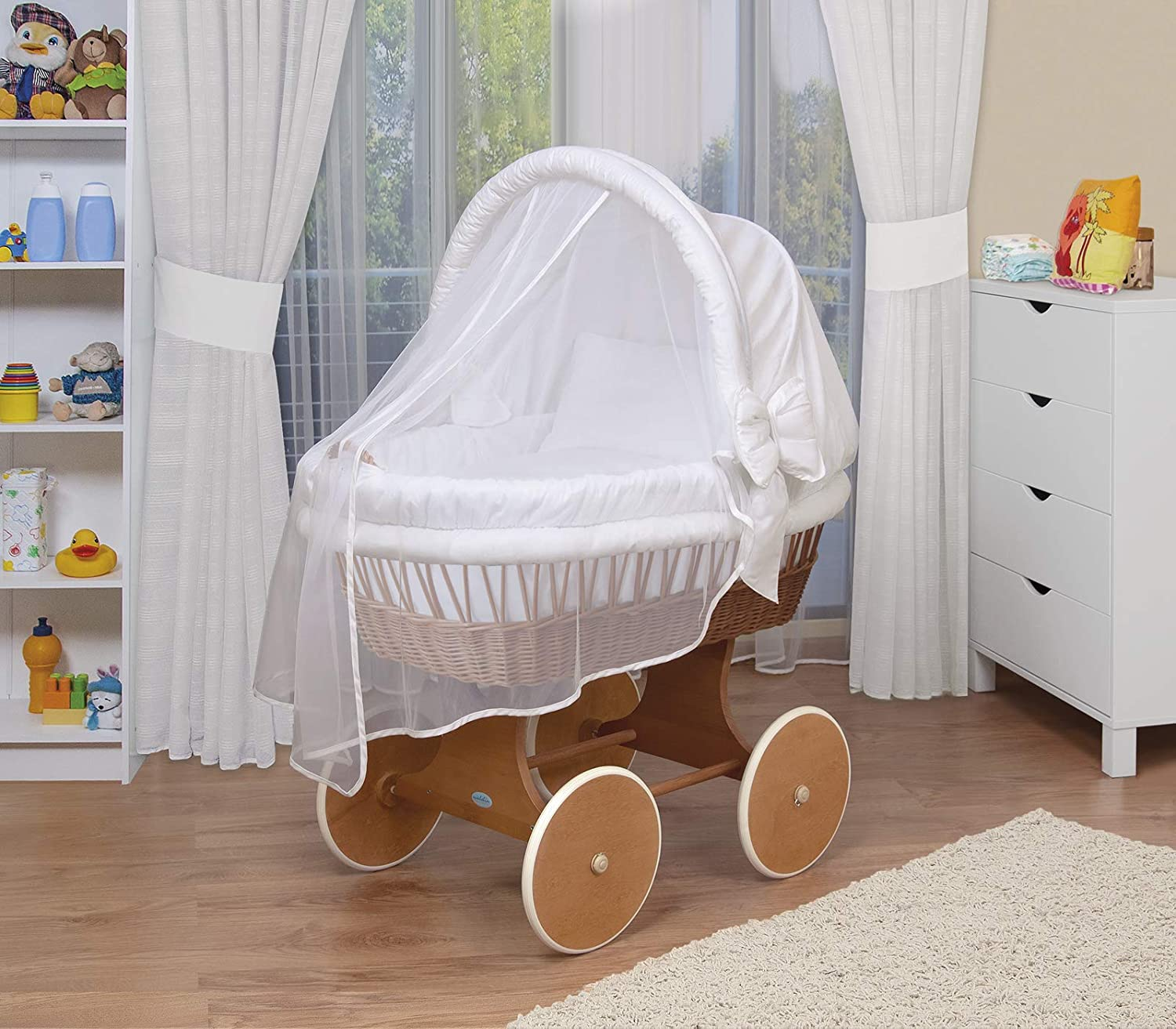 WALDIN Baby Wicker Cradle,Moses Basket,44 Models Available,White Painted Stand//Wheels,Textile Colour Light Yellow//Squared