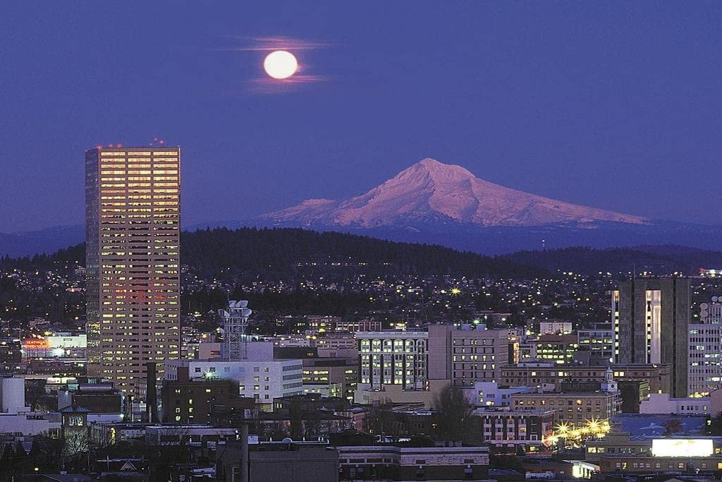 Portland Skyline with Moon Over Mount Hood Photo Photograph Cool Wall Decor Art Print Poster 36x24