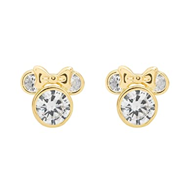 de3004008 Amazon.com: Disney Minnie Mouse Gold Cubic Zirconia Stud Earrings: Jewelry